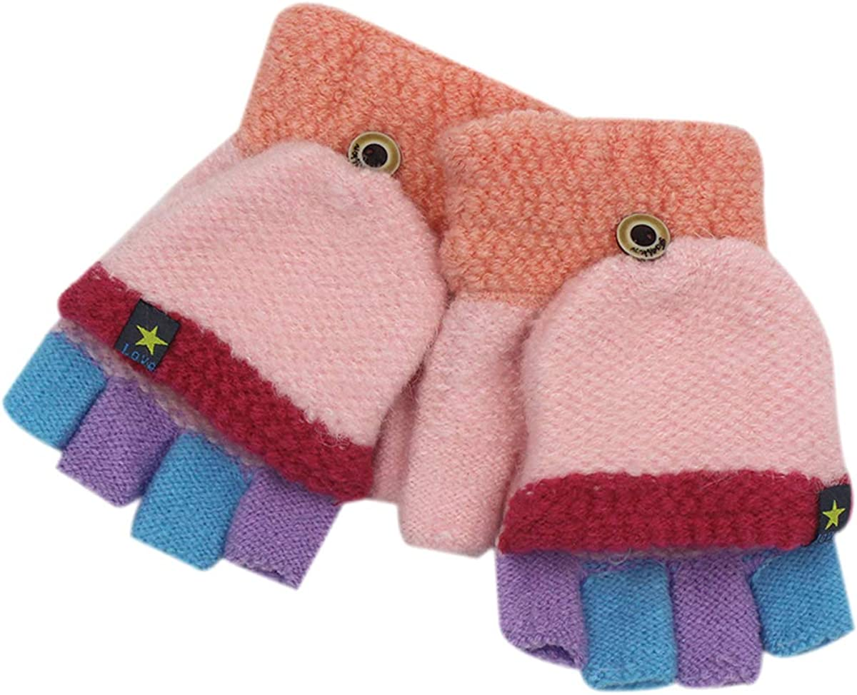 RARITY-US Unisex Warm Soft Winter Knit Gloves for Kids Boys Girls Baby Glove with Stripe Mittens (3 to 8Y): Clothing