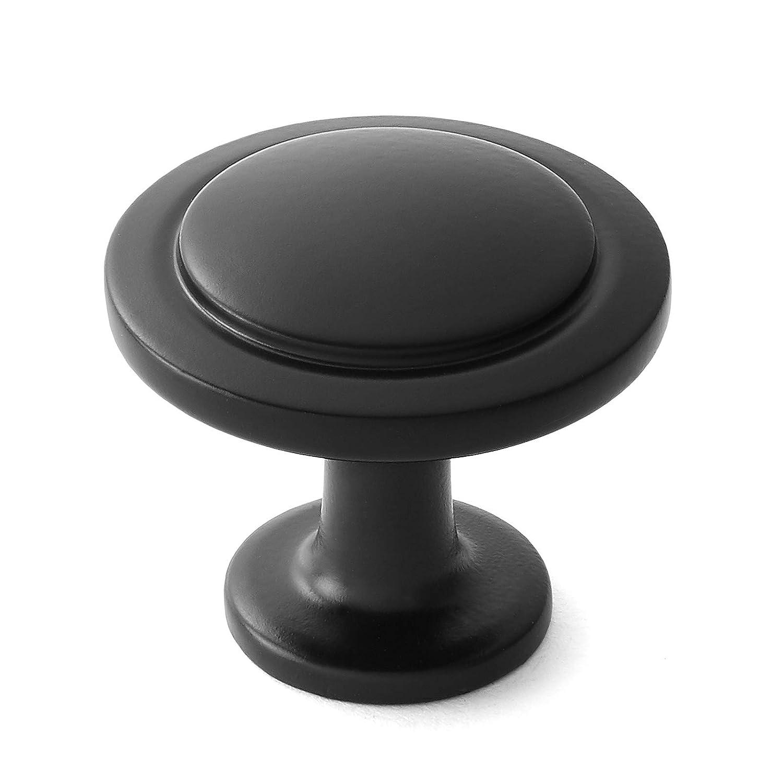 """Cauldham 25 Pack Solid Round Kitchen Cabinet Knobs Pulls (1-1/4"""" Diameter) - Traditional Dresser Drawer/Door Hardware - Style R120 - Matte Black"""
