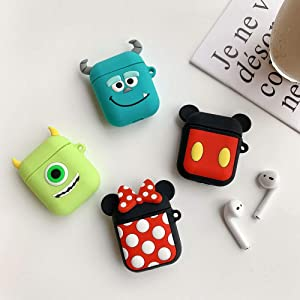 UR Sunshine AirPods Case, Super Cute Creative Cartoon Shape Matte Surface Soft Silicone Case Cover Protective Skin for Apple AirPods-Mike Wazowski