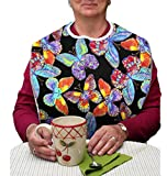RMS Adult Bib Washable Reusable Waterproof Clothing Protector with Vinyl Backing and Velcro Closure 34''X18'', Designer Patterns (Vivid Butterfly)