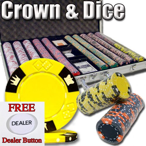 1000 Casino Grade Crown & Dice 14 Gram 3 Tone Clay Poker Chips w/ Free Dealer Button. Premium Clay Poker Chips, Includes Aluminum Case. by Brybelly