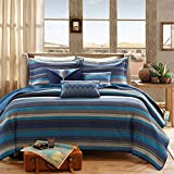 Madison Park Yosemite Full/Queen Size Quilt Bedding Set - Blue, Striped – 6 Piece Bedding Quilt Coverlets – Cotton Bed Quilts Quilted Coverlet