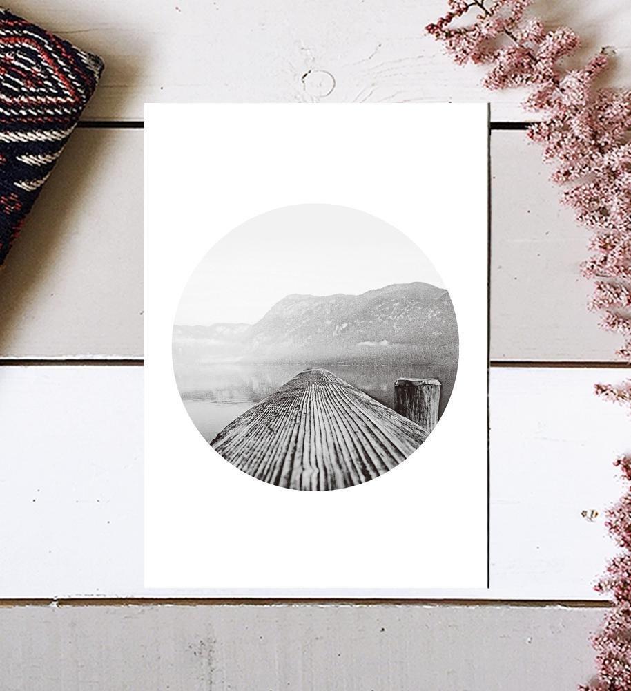 Mountain Photography, Mountain Print, Tree Ring Print, Black and White Sea Print, Mountain And Sea, black and white, Scandinavian Print, Photography Print, Mountain Wall Art, Scandinavian Art, 8x10 by MotivatedWallArt