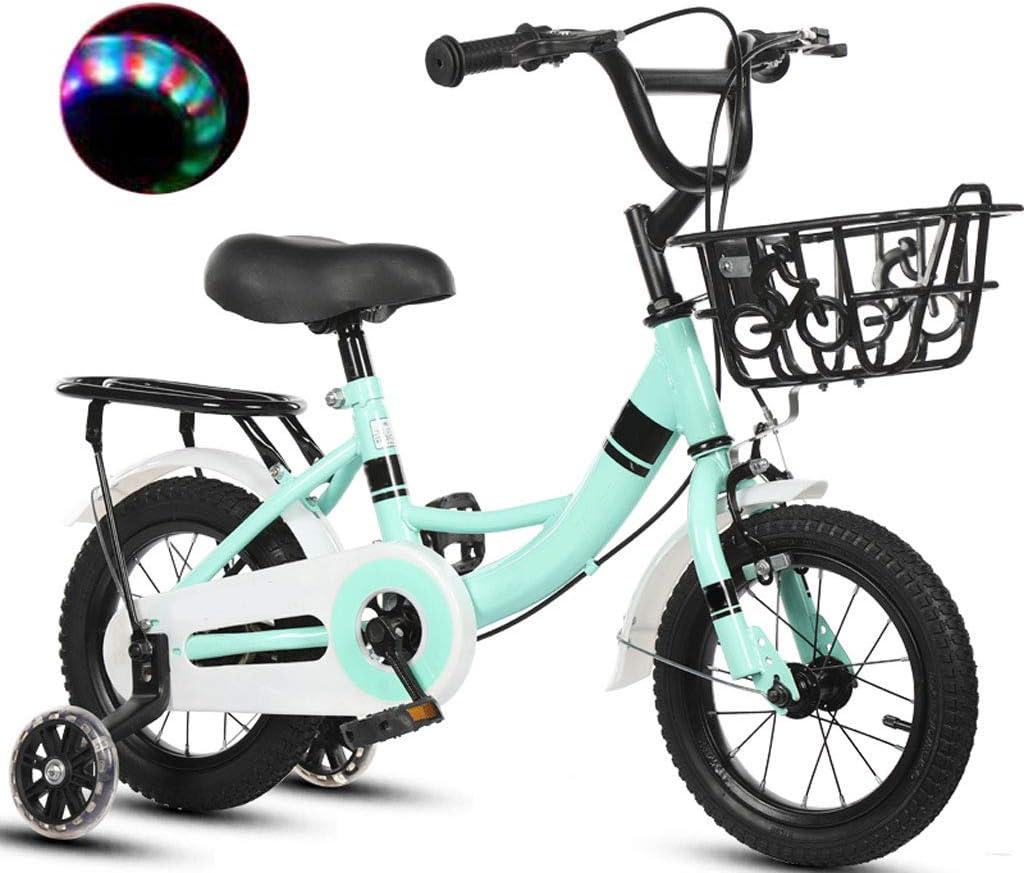 Bicicleta 3 Años De Edad del Bebé Pedal Chica Niño Chico 12/14/16/18 Pulgadas Infantil 6-7-8-9-10 Años De Edad, con La Asistencia De Flash De La Rueda (Tamaño: 18 Pulgadas)