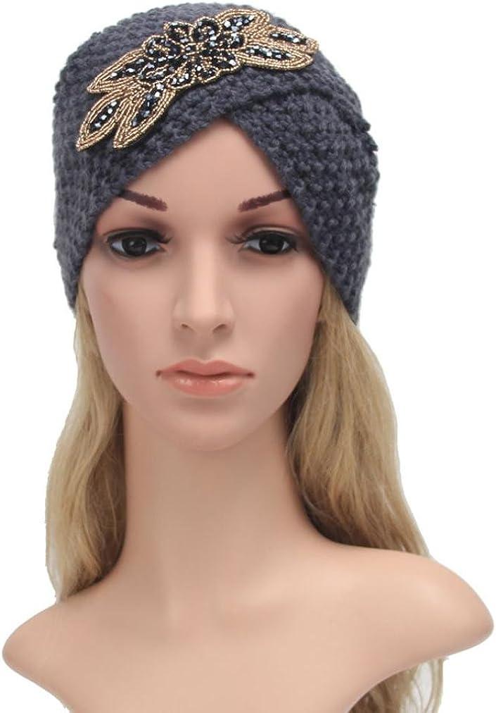 Lenfesh Sombrero de Tejer Caliente de Las Mujeres Trenzado capuch/ón de Tocado de Turbante para el Invierno