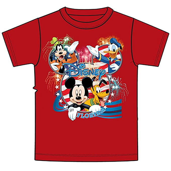1f384b0d Disney Classic Mickey Mouse & Pals Men & Women T Shirt Top - Red White Blue