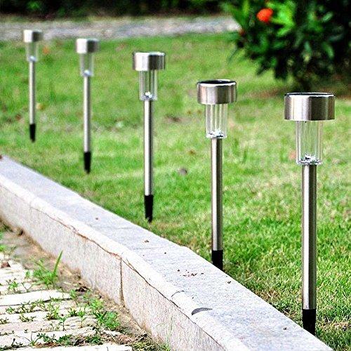 Inditradition Solar LED Garden Light, Pathway Light Rods | Waterproof, Stainless Steel Body, Auto On-Off, White Light (Pack of 5)