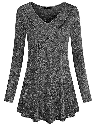 Quinee Long Sleeve Tunic Tops for Women, Ladies Knitting Cotton Shirts Highlight The Sexy Collarbone Fitted Work Wear in Business Casual Setting Comfy Flared Clothes Grey M
