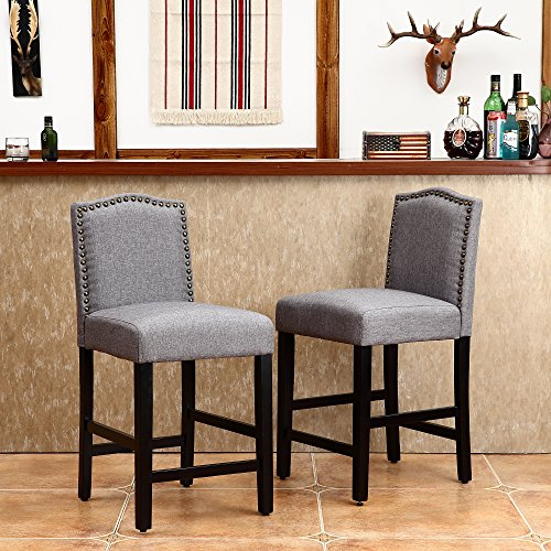"""LSSBOUGHT Set of 2 Classic Fabric Barstools Dining High Counter Height Side Chairs (Seat Height: 24"""", Gray)"""