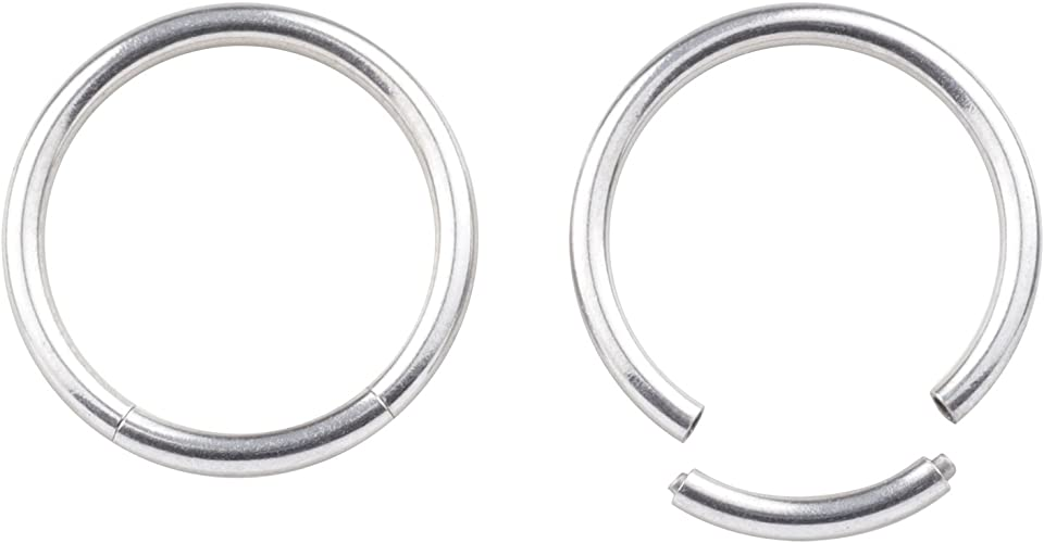 16G 8mm 4Pcs Septum Clicker Ring 316L Stainless Steel Nose Rings Hoop