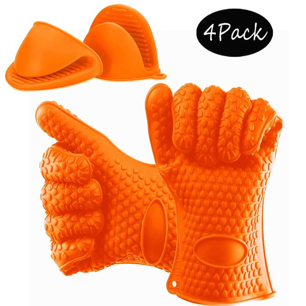 iPstyle Hot Oven Gloves, Silicone Oven Mitts BBQ Grill Gloves Kitchen Baking Best Versatile Heat Resistant Grill Gloves, Insulated Silicone Oven Mitts for Grilling, Full Finger Waterproof (Orange)