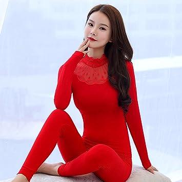 LVLIDAN Mujer Ropa interior térmica Manga larga pantalón invierno Cuello alto sección delgada body sculpting representación