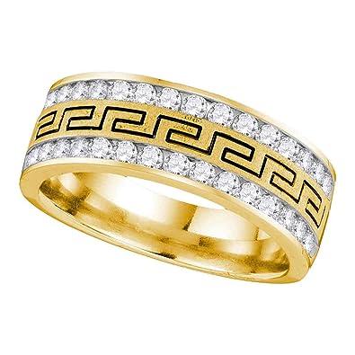 Mens Diamond Greek Key Wedding Band Solid 14k Yellow Gold Ring Round