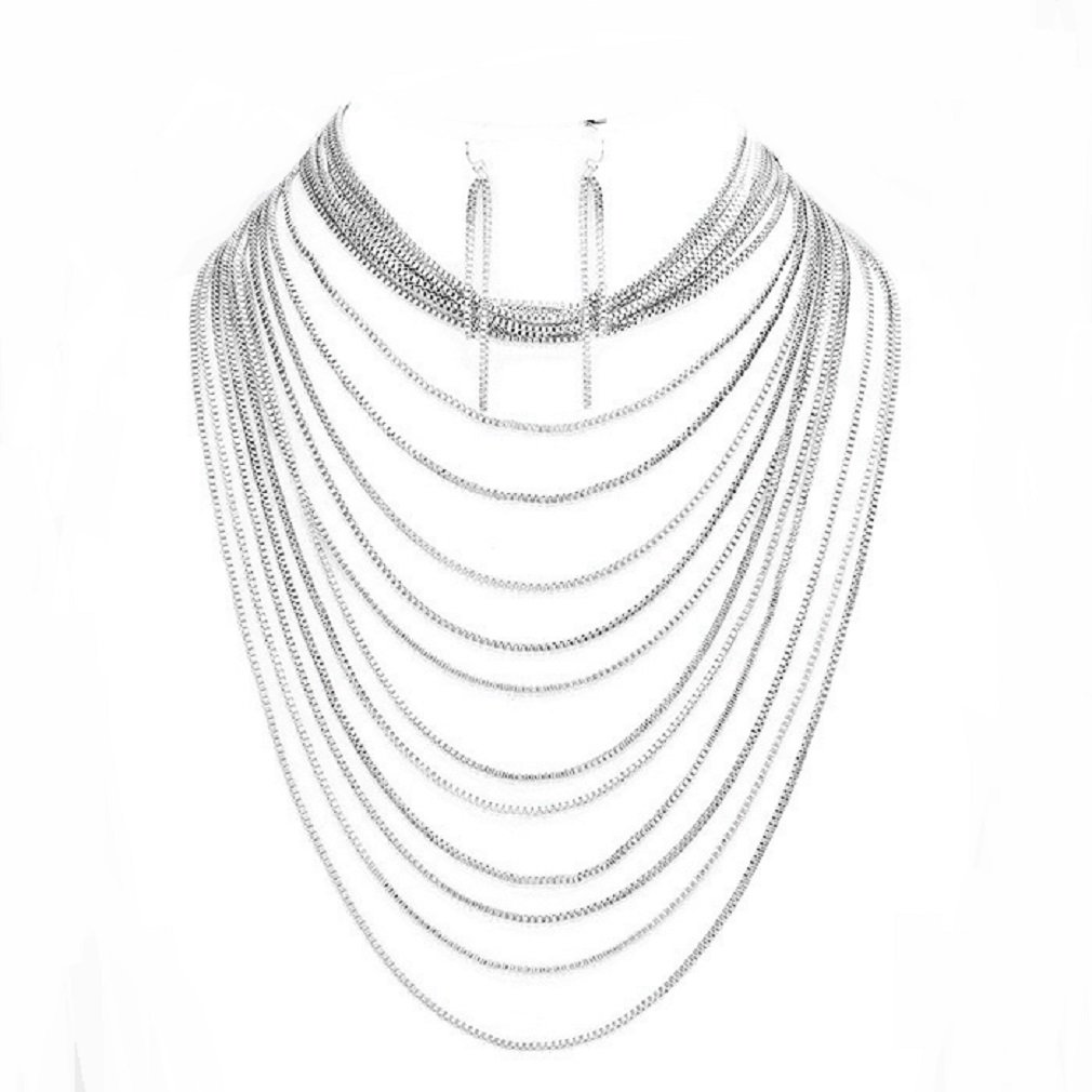 Uniklook Statement Multi Layered Silver Metal Chain Strands Bib Necklace Earrings Set Gift Bijoux (Silver)