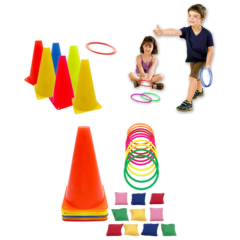Fowecelt 3 in 1 Carnival Games Set, Plastic Cone Cornhole Bean Bags Ring Toss Game For Carnival Birthday Party Indoor Outdoor Game Supplies (26 Piece Set) by Fowecelt (Image #2)