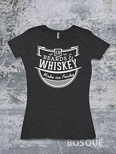 Beards and Whiskey Make me Frisky T-Shirt Country Southern Style Tee - Ink - Styles For Me Beard