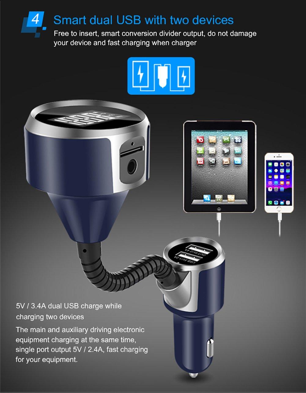 Chuangmeida Wireless coche FM transmisor Radio adaptador cargador de coche con doble Puertos USB//AUX coche Kit con llamadas manos libres para iPhone X 8 Transmisor FM Coche Bluetooth Samsung