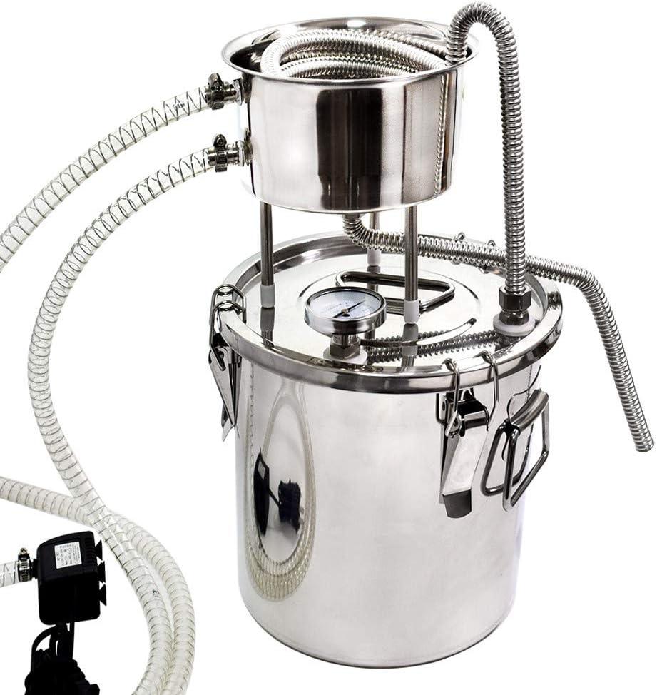 Moonshine - Juego de destilador de alcohol para el hogar (20 L, acero inoxidable 304)