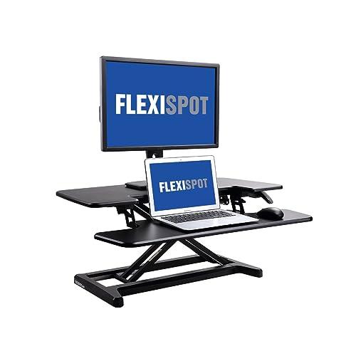 FlexiSpot Standing Desk Hight Adjustable Desk Riser with Deep Keyboard Tray for Laptop - 35