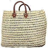 Moroccan Straw Summer Beach / Shopper / Tote Bag 21″ X 20″, Bags Central