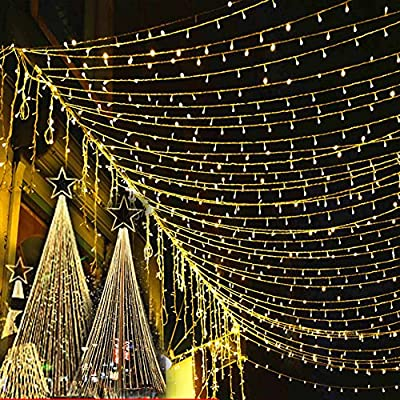 Lily's Gift LED String Lights with 66ft 200LED 8 Modes Irregular Firefly Starry String Light for Patio, Garden, Yard, Square, Chritmas, Wedding Decor (Warm Light)
