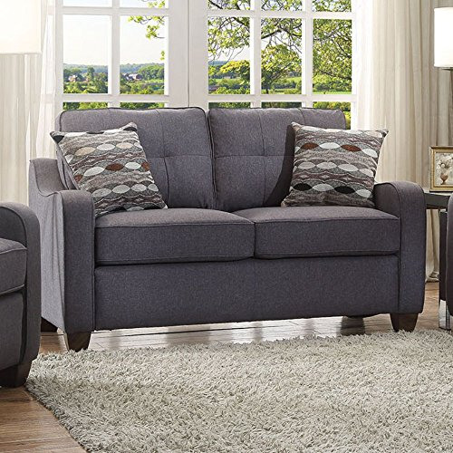 Acme Furniture Loveseat (ACME Furniture 53791 Cleavon II Loveseat with 2 Pillows, Gray Linen)