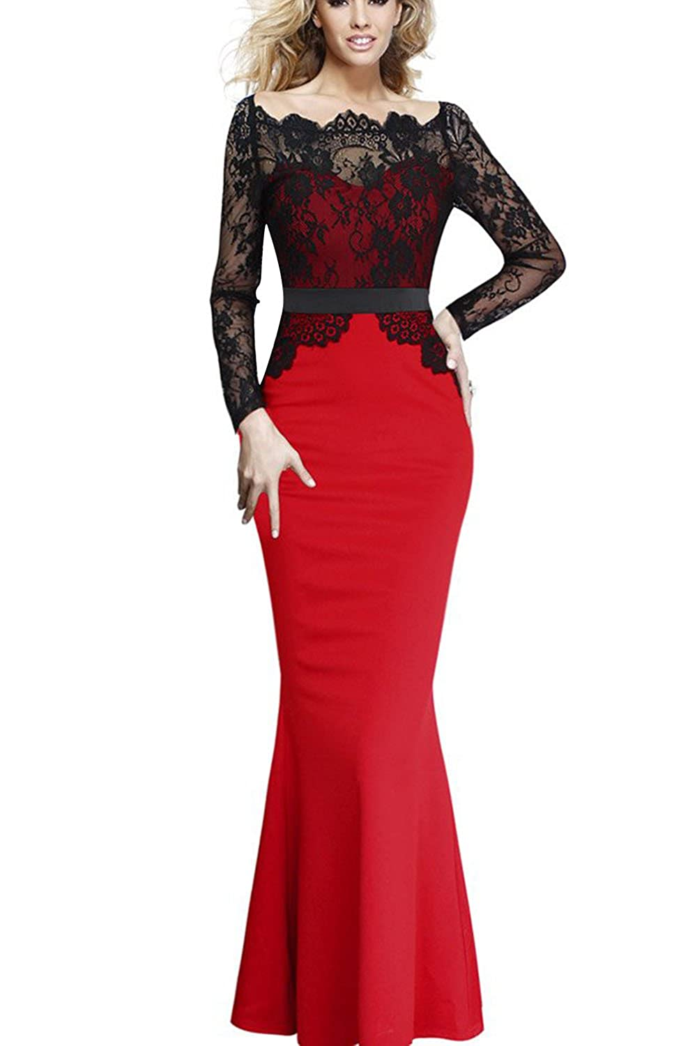Fordestiny Damen Spitzenkleid Brautjungfer Cocktailkleid Lace ...