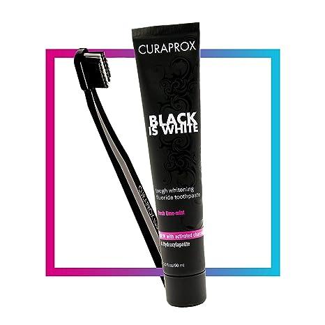 Curaprox White is Black Set de Pasta de Dientes con Carbón Activado y Cepillo Manual - 90 ml: Amazon.es: Salud y cuidado personal