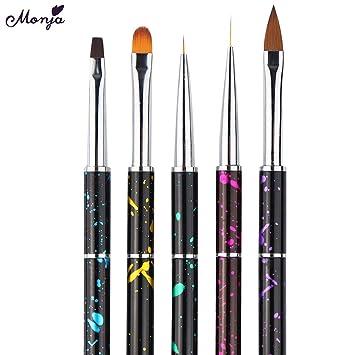 lecimo 5Pcs Nail Art pen(Round Pen,Flat Pen,Pull Pen, Crystal