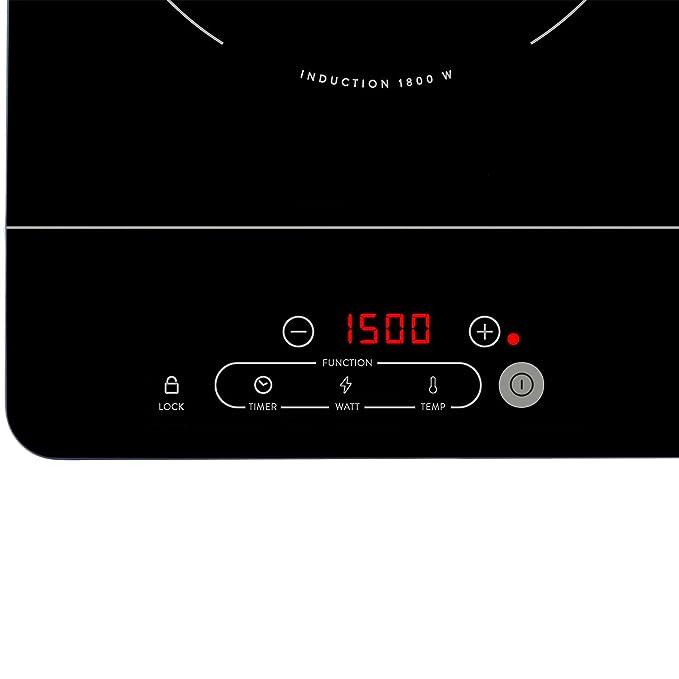 Placa de inducción doble (3500 W) Cocina de inducción vitrocerámica sin marco con 2 zonas de cocción extra fina y portátil con control táctil, display ...