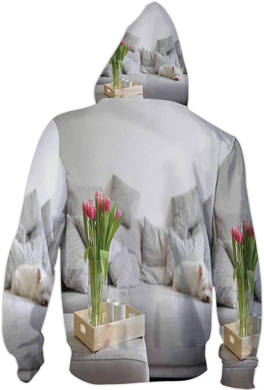 Illustration Paw,Ladies Full Zip Fleece with Pocket Pattern S Animal Seamless Pattern of paw Footprint and Bone