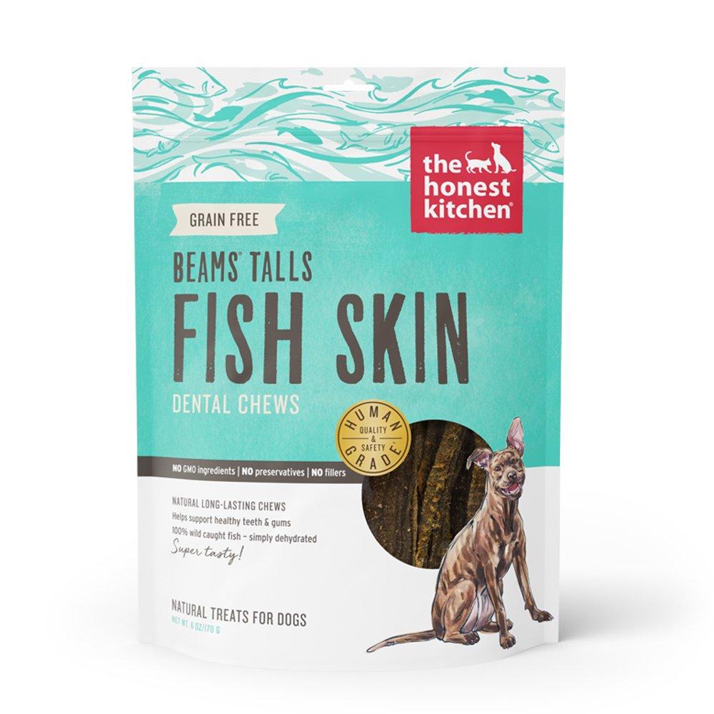 Honest Kitchen The Beams Grain-Free Dog Chew Treats - Natural Human Grade Dehydrated Fish Skins, 6 oz Tall
