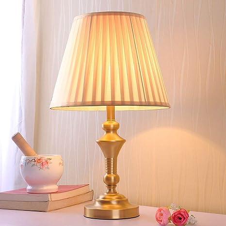 Retro Nordique Tissu Cuivre Table Lampe De Chevet Lampe De