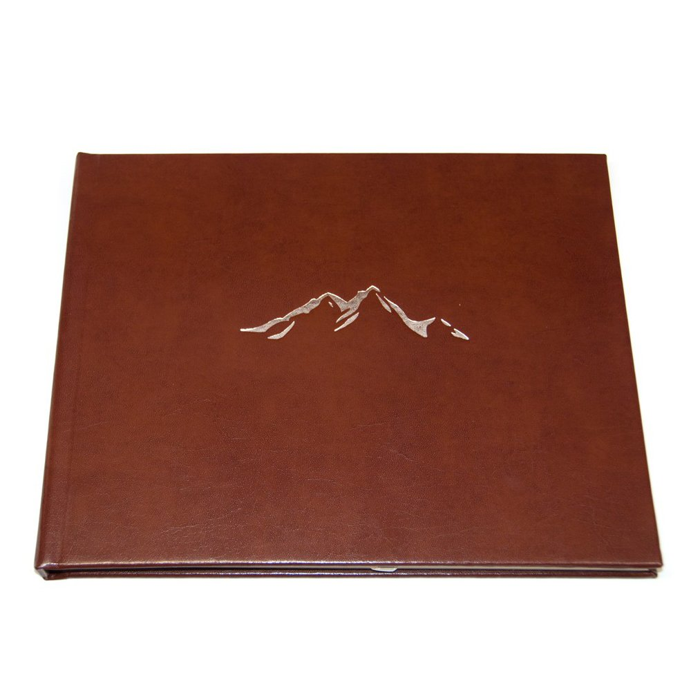 Cabin Guest Book with Mountain Theme Embossed in Silver & Lined Pages - Brown Leather