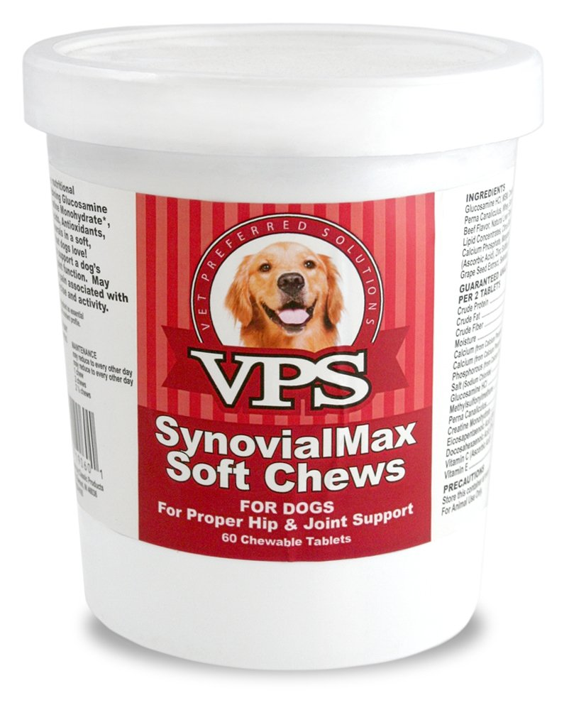 60 Counts Vet Preferred VPS SynovialMax Hip and Joint Soft Chews for Dogs, 60 Counts