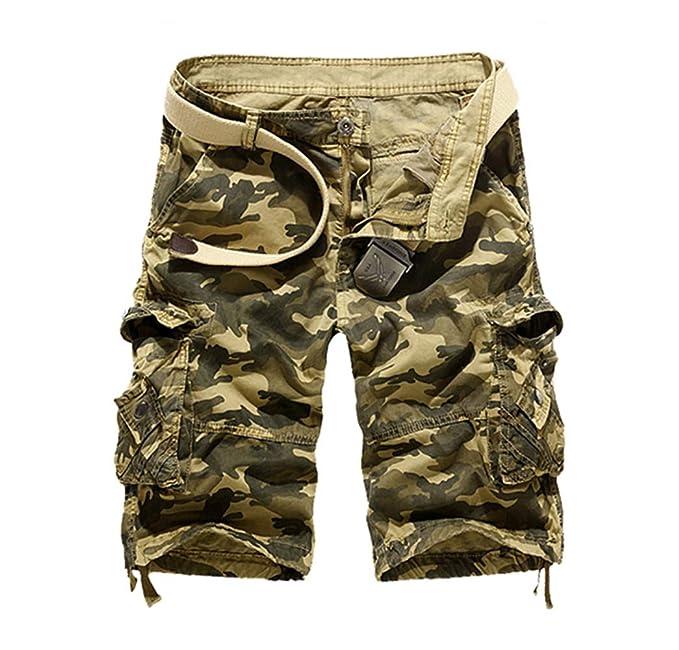 8b486531592 Pantalones Cortos Camuflaje Hombre Pantalón Cargo Verano Pantalones de  Trabajo Multibolsillos Bermuda Pantalones Cortos de Anchos