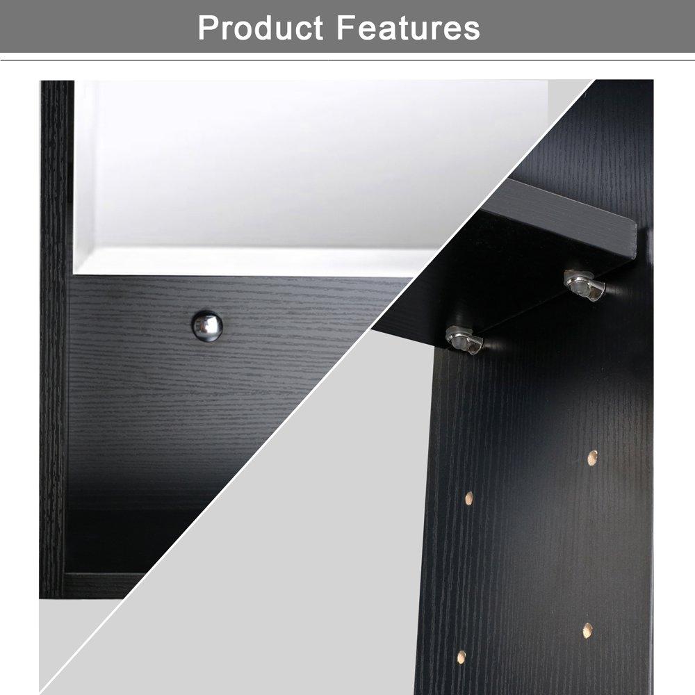U-Eway 22''x28'' Bathroom Medicine Cabinet Organizer With Mirror 3-Height Adjustable Shelf Wall Mounted Surface Black Bathroom Storage by U-Eway (Image #5)