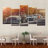 Modern Home Wall Art Decor Frame Pictures HD Prints 5 Pieces Volkswagen Beetle Car Painting On Canvas Retro Sunset Poster ,30x60cmx4 30x80cmx1,Frame