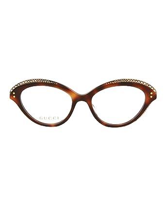 Amazon.com: Gucci GG 0215O 002 Havana Plastic Cat-Eye Eyeglasses ...