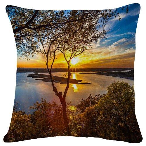 SHOBRILF 18x18 Inches Plush Cushion Covers Throw Pillowcases - Lake Travis Austin Texas - Super Soft Fashion Simple Decorative Pillowcases
