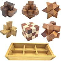 Guaishou 6-in-One 3D Luxury Wooden Brain Puzzle Teaser Kongming Lock for Teens and Adults Includes Storage Box
