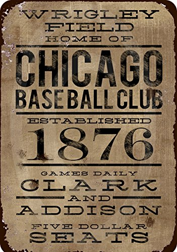 Wrigley Field Home of Chicago Baseball Club Reproduction Sign 8x12