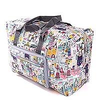 Travel Bag Foldable Large Travel Duffel Bag Waterproof Tote Weekender Nylon Overnight Handbag (Castle)