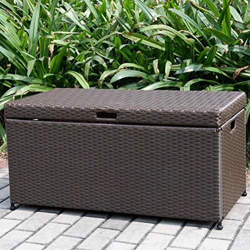 "40"" Espresso Brown Resin Wicker Outdoor Patio Garden Hinged Lidded Storage Deck Box"