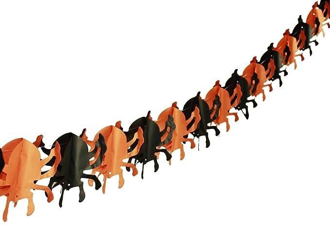 HAAC Girlande Hexe auf Besen Motiv L/änge 3,00 Meter Farbe schwarz orange f/ür Halloween Fasching Karneval