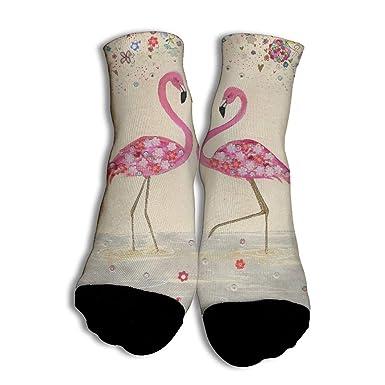 Flamingo Nostalgia Baloncesto Calcetines únicos de corte bajo con ...