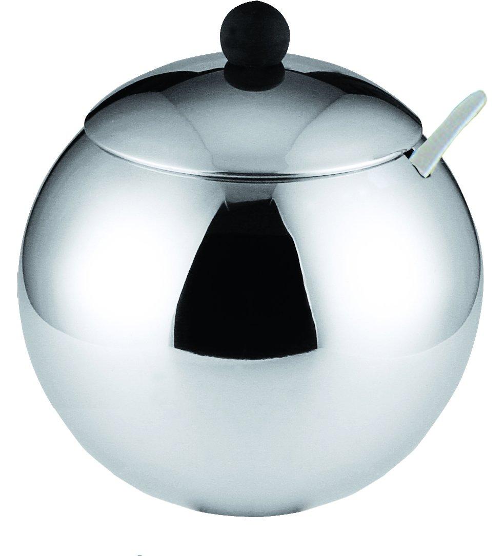 Stainless Steel 12.oz Sugar Bowl with Black Knob
