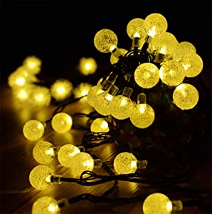 BicycleStore Globe String Lights, 19.7 Ft 30 LED Outdoor Solar Waterproof Light 8 Modes Fairy Connectable Weatherproof Crystal Ball Lamp Dimmable Solar Powered and Battery Operated for Garden Home