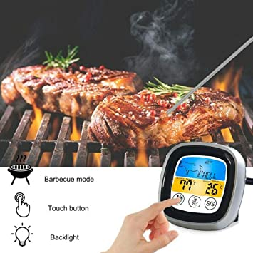Touch Digital Screen Timer Barbecue Food Probe Kitchen Meat Oven BBQ Thermometer