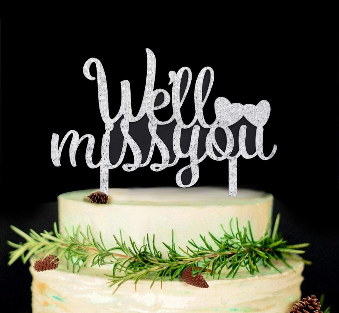 Retirement Well Miss You Acrylic Cake Topper for Farewell Graduation Party Decorations Rose Gold Job Change